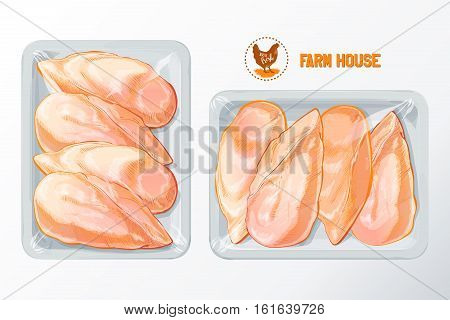 Fresh chicken breast White polystyrene packaging, vector mockup Top view vintage vector isolated sketch hand drown