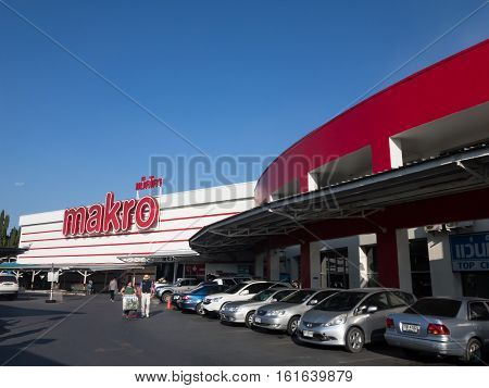 CHIANGMAI THAILAND -DECEMBER 14 2015: Makro Hypermarket Chiangmai. Location on road chiangmai Lampang road about 4 km from chiangmai city. Chiangmai Thailand.