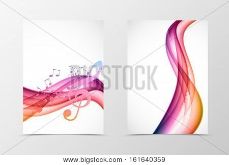 Front and back wave flyer template design. Abstract template with colorful lines, musical notes, treble clef and halftone effect in dynamic style. Vector illustration