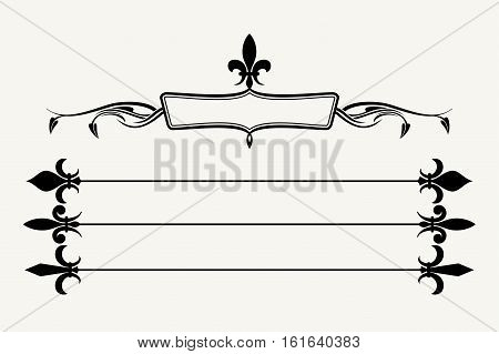 Set of fleur de lys design elements. Decoration of element antique illustration