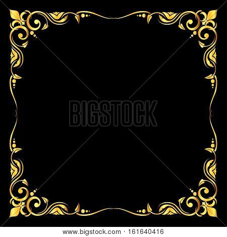 Golden vector ornate royal fleur de lys frame over black background. Antique classic frame for decoration illustration
