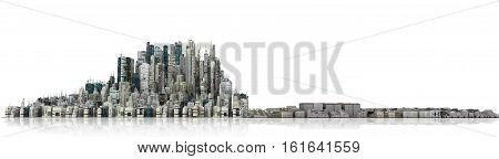 Urban skyline. View to modern city from high-rise buildings and destroyed city on white background. Good city in the left half and destroyed city in the right half. 3d illustration
