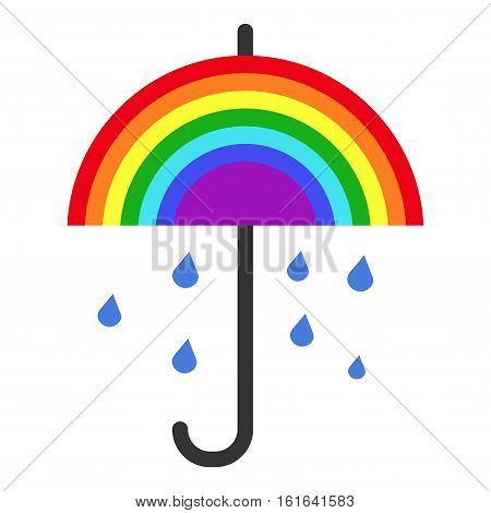 Vector rainbow umbrella and falling rain. Rainy nature design illustration