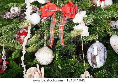 Beautiful Christmas Ball On A Christmas Tree