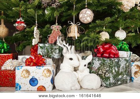 Beautiful Christmas gifts under the Christmas tree