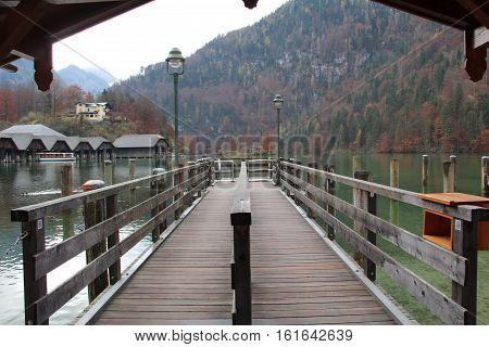 Pier / Lake Koenigsee (Bavaria, Germany) .
