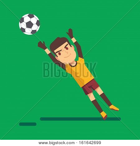 Soccer goalkeeper catching a ball illustration. Young player jump illustration