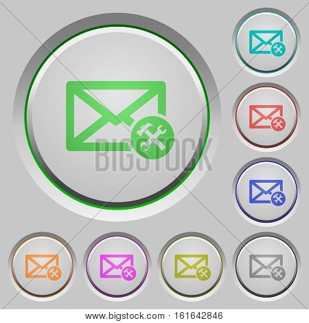 Mail preferences color icons on sunk push buttons