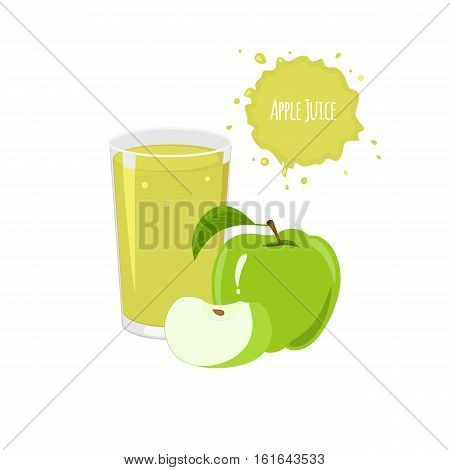 Vector apple juice with ripe apples and slices for package design and labels. Design elements. Apple juice.