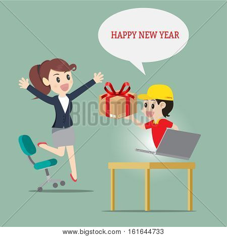 Delivery man service send thing or gift to businesswoman at office and home for happy new year surprise and important day.