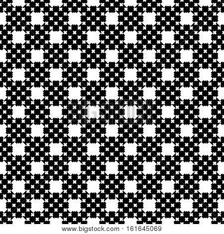 Vector monochrome seamless pattern, dark endless texture with simple geometric figures. Illustration of cross stitching. Black & white repeat abstract background. Design for prints, decoration, textile, digital, web