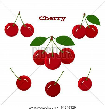Set of juicy cherry fruits on a white background
