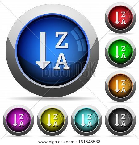 Alphabetically descending ordered list icons in round glossy buttons with steel frames