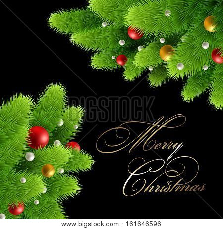 Winter background with pine branch and baubles. Christmas tree decoration. Vector illustration.