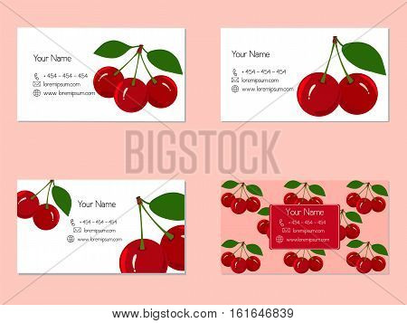 Design business cards with juicy cherry fruit for companies