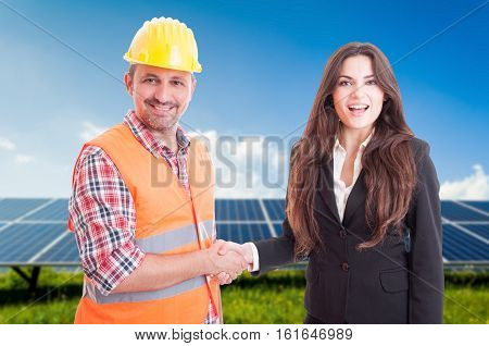 Partnership Concept With Business Woman And Engineer