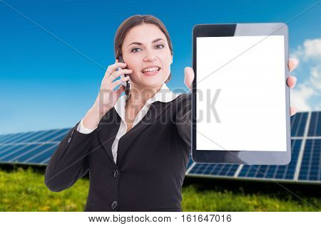 Busy Female On Cellphone Showing Modern Table