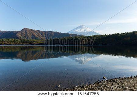 Lake saiko with Fuji Mountain