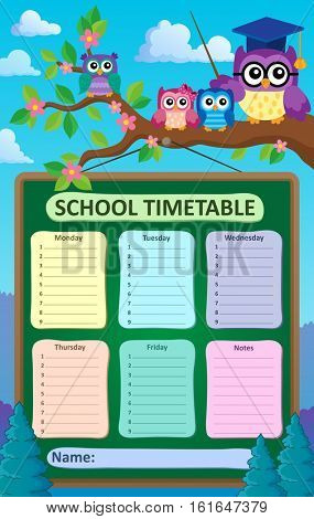 Weekly school timetable subject 6 - eps10 vector illustration.
