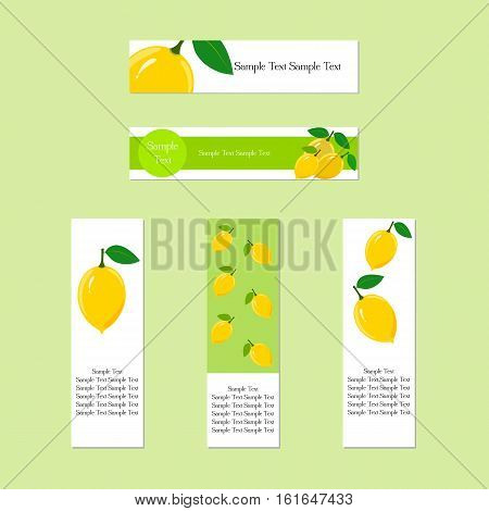 Design banners with ripe juicy lemon fruit for company