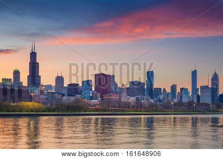 Chicago Skyline. Cityscape image of Chicago skyline during sunset.