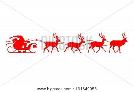 Santa sleigh reindeer red silhouette. Vector illustration isolated on white background.
