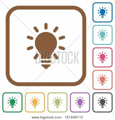 Lighting bulb simple icons in color rounded square frames on white background