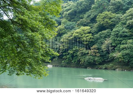 Lake in arashiyama, Japan