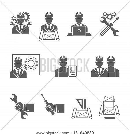 Engineer construction equipment machine operator managing and manufacturing icons set isolated vector illustration