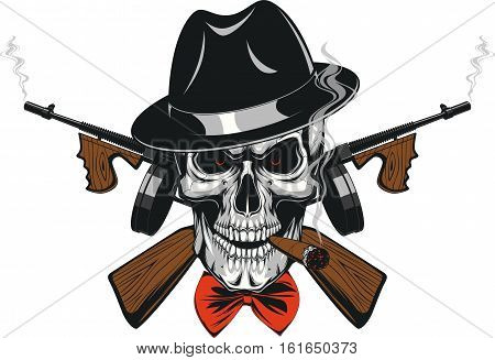 Vector illustration of a skull of a gangster in a hat smoking a cigar, wearing weapon, frighten