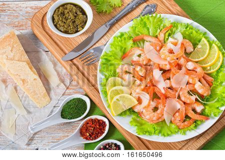Salad With Shrimps, Green Lettuce And Slice Of Lemon