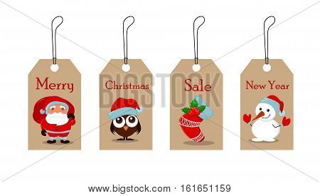 Cute funny Snowman owlet in Christmas hat empty Christmas sock with holly berry and Santa Claus with a bag full of gifts. Christmas tags for sale. Vector illustration. EPS10