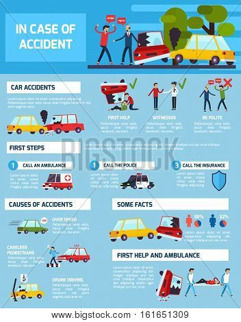 Road accidents infographic set with first aid and causes symbols flat vector illustration