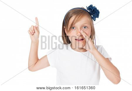 girl shows something a finger, has an idea, he says, whispers, advises