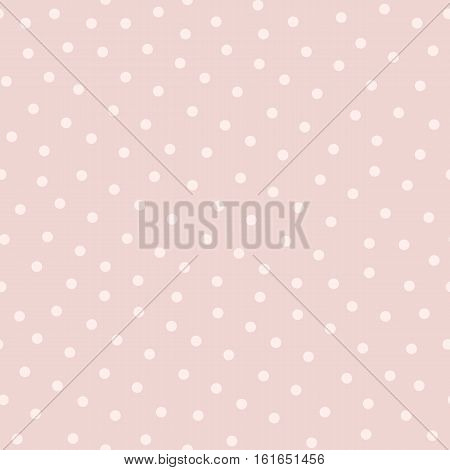 Polka dot seamless pattern in popular colors: soft pink and powdery. Asbstract vector background, cute endless texture for cards, fabric, invitations, baby shower or wedding decoration, textile, digital, web