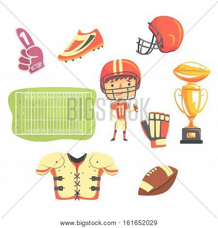Boy American Football Player, Kids Future Dream Professional Occupation Illustration With Related To Profession Objects. Smiling Child Carton Character With Career Attributes Around Cute Vector Drawing.