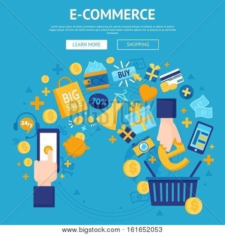 E-commerse online store flat banner webpage design with shopping cart and sale items icons vector illustration