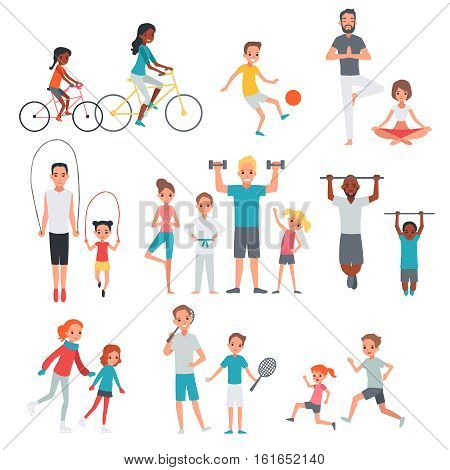 People flat fitness set with parents and children involving in sport activities isolated vector illustration