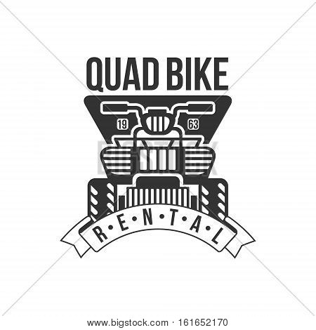 Quad Bike Renting Label Design Black And White Template With Text For Quadricycle Rental Business. Monochrome Logo With Off Road Bike Silhouette Vector Illustration.