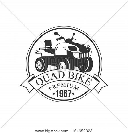 Quad Bike Premium Label Design Black And White Template With Text For Quadricycle Rental Business. Monochrome Logo With Off Road Bike Silhouette Vector Illustration.