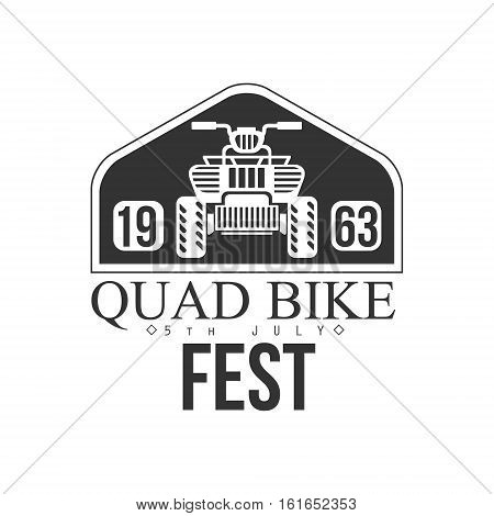 Quad Bike Event Label Design Black And White Template With Text For Quadricycle Rental Business. Monochrome Logo With Off Road Bike Silhouette Vector Illustration.