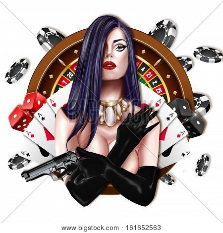 Hand drawn portait - Girl covering breast and holding a gun - Roulette, chips, poker cards, and dices on background