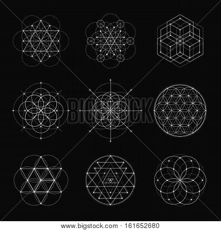 Sacred geometry vector design elements. Alchemy, religion, philosophy, spirituality, hipster symbols and elements. White line on a black background.