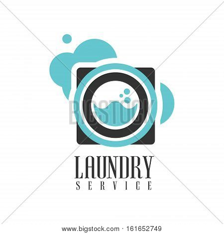 House And Office Cleaning Service Hire Logo Template With Washing Machine For Professional Cleaners Help For The Housekeeping.Vector Label In Blue And Black Color With Cleanup Elements.