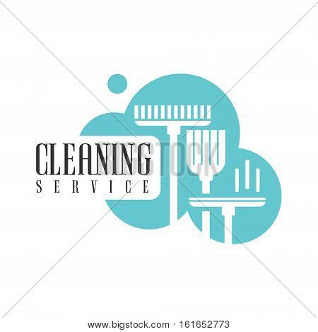 House And Office Cleaning Service Hire Logo Template With Broom And Mop For Professional Cleaners Help For The Housekeeping.Vector Label In Blue And White Color With Cleanup Elements.