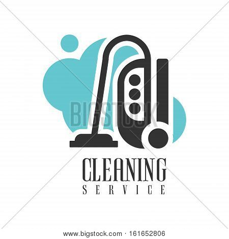 House And Office Cleaning Service Hire Logo Template With Vacuum Cleaner For Professional Cleaners Help For The Housekeeping.Vector Label In Blue And Black Color With Cleanup Elements.
