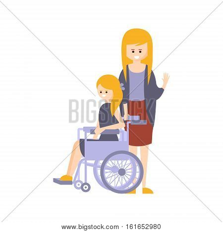 Physically Handicapped Person Living Full Happy Life With Disability Illustration With Smiling Girl In Wheelchair And Her Mother. Disabled Cartoon Character With Physical Impairment Vector Drawing.