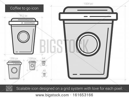 Coffee to go vector line icon isolated on white background. Coffee to go line icon for infographic, website or app. Scalable icon designed on a grid system.