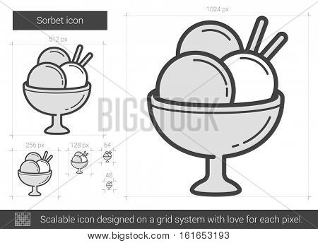 Sorbet vector line icon isolated on white background. Sorbet line icon for infographic, website or app. Scalable icon designed on a grid system.