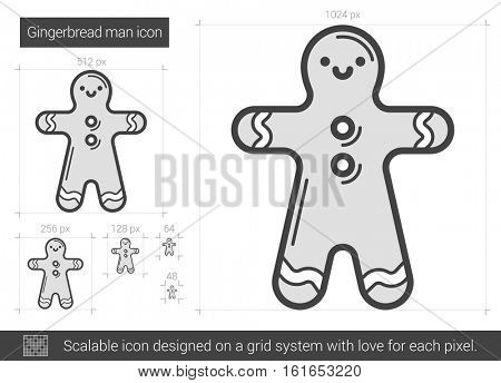 Gingerbread man vector line icon isolated on white background. Gingerbread man line icon for infographic, website or app. Scalable icon designed on a grid system.